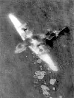 1943 Gibraltar B-24 crash - Sikorski's Liberator, lying on its back in the sea just off Gibraltar following the crash