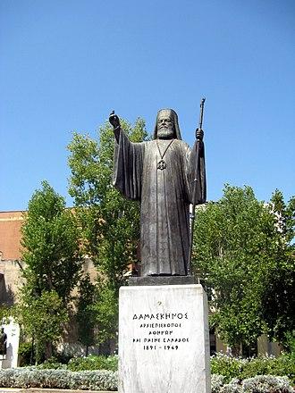 Damaskinos of Athens - Statue of Archbishop Damaskinos in Athens.