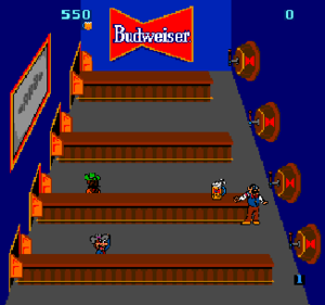 Tapper - In Tapper, the player plays the part of a bartender serving drinks to eager customers. The Budweiser logo is clearly visible in the version pictured here.