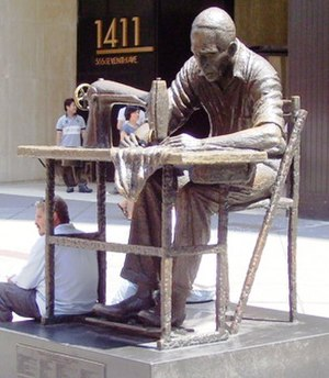 Garment District, Manhattan - The Garment Worker, bronze by Israeli sculptor Judith Weller