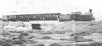 Athens–Lavrion Railway - A Tubize locomotive with an Athens–Lavrion train at Thorikon bridge (1888)