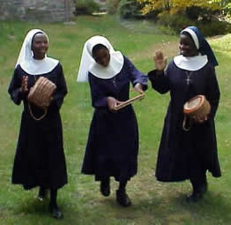 Anglican religious order - Image: Three Malawian nuns, dancing