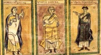 San Martín de Albelda - Contemporary depictions (and self-depiction) of three monks of Albelda, the scribes of the Codex Albeldensis, from left to right: Serracino, Vigila, and García (as drawn by Vigila)