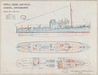 HMAS Vigilant - Image: Vigilant plan