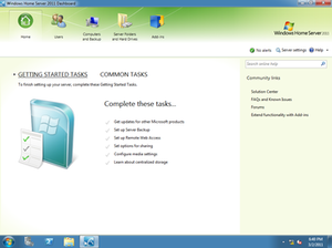 Windows Home Server 2011 - Windows Home Server 2011 Dashboard