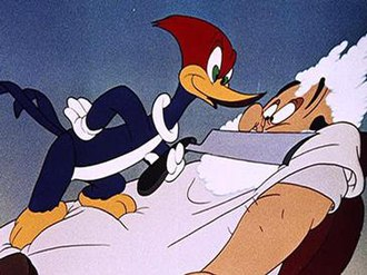 Woody Woodpecker - Woody Woodpecker and his captive client in The Barber of Seville (1944), directed by Shamus Culhane.
