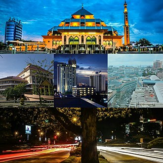 Batam - Batam city montage, from top left to right: The front view of Batam Great Mosque, the City Hall building, skyline of Batam city-centre, Nagoya Business Area, and a busy road in downtown.