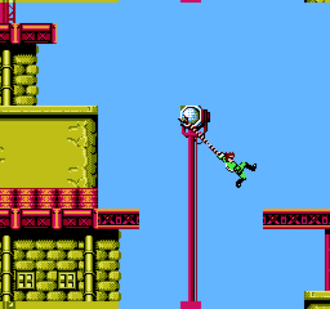 Bionic Commando (NES video game) - Since Ladd cannot jump in the game, he uses his bionic arm to swing across gaps and obstacles.