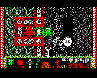 Bonecruncher - BBC Micro screenshot showing Fozzy (red), Bono (green), a skeleton and a Glook (white)