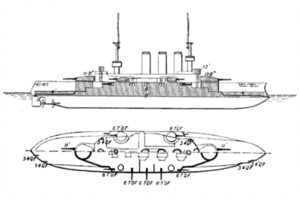 SMS Elsass - Line-drawing of the Braunschweig class