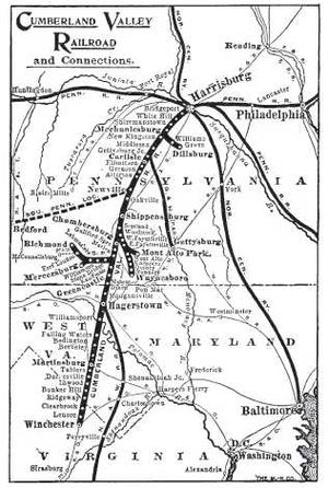 Cumberland Valley Railroad - CVRR route map in 1919