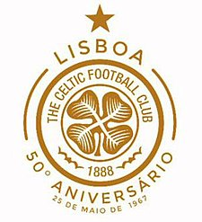 Special commemorative crest used in season 2017-18 to celebrate the 50th anniversary of the club's European Cup Final win in 1967. Celtic 50th Anniversary of Lisbon Lions 1967 (2017-18).jpg