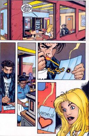 Chamber (comics) - Chamber confesses his love to Husk, art by Terry Dodson