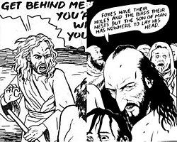 Two images of Jesus drawn in different styles by Chester Brown