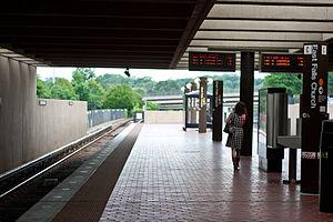 Westover, Arlington, Virginia - A woman walks along the East Falls Church Metro station platform