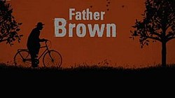 Series title and a silhouette of father Brown on a bicycle