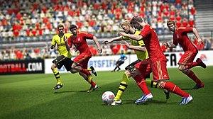 FIFA 14 - A match between Bundesliga clubs Borussia Dortmund and Bayern Munich in FIFA 14