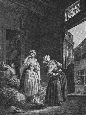 La fille mal gardée - Pierre-Antoine Baudouin's painting Le reprimande/Une jeune fille querellée par sa mère.
