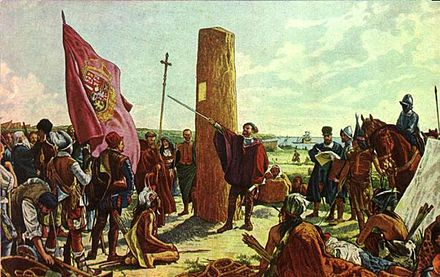 Juan de Garay founding Buenos Aires in 1580. The initial settlement, founded by Pedro de Mendoza, had been abandoned since 1542. Garay2.jpg