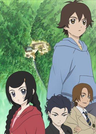 Ghost Hound - The four main characters of Ghost Hound, from Left to Right: Miyako, Makoto, Masayuki, and above them all, Taro