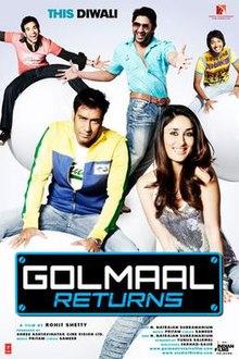 Golmaal Returns  (2008) SL DM - Ajay Devgan, Kareena Kapoor, Arshad Warsi, Tusshar Kapoor, Shreyas Talpade, Celina Jaitley, Amrita Arora, Anjana Sukhani, Vrajesh Hirjee, Ram Kapoor, Sanjay Mishra, Ashish R Mohan, Murli Sharma, Mukesh Tiwari