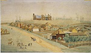 Ipswich Grammar School - An artist's impression of Ipswich Grammar School, sitting atop Grammar School Hill, Ipswich, in 1865