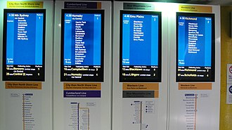 Parramatta railway station - Indicator boards at Parramatta station in peak hour
