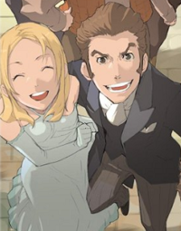 A blonde woman in a light blue dress and a brown-haired man in a black suit stand side-by-side and smile.