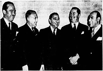 Fred Trump - Fred Trump (left) and other realtors at a New York and Brooklyn federation Jewish charity dinner