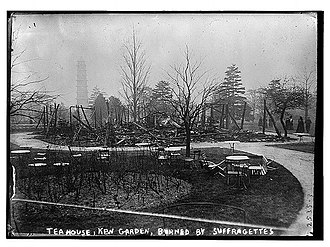 Kew Gardens - The Tea House at Kew Gardens after the arson attack in 1913 by suffragettes Olive Wharry and Lilian Lenton