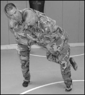 Usage of a leg trip to perform a takedown.