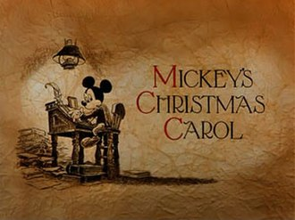 "Mickey's Christmas Carol - Opening titles for Mickey's Christmas Carol illustrated by Mike Peraza, in sepia tone with Mickey Mouse as Bob Cratchit. This was the last piece of animation to feature full opening credits and end with ""The End."""