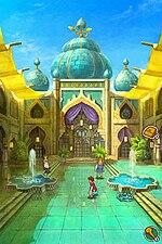 La avataro staras proksime de la enirejo al alta oro-kaj-blua konstruaĵo.