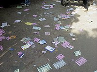 Pamphlets on the road at Mythrivanam, Hyderabad