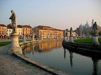 Prato della Valle, Basilica Sta Justina on the...