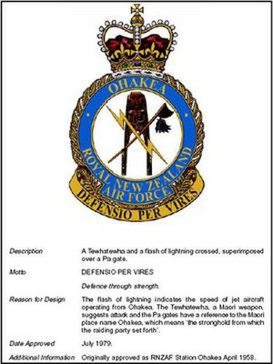 RNZAF Base Ohakea - Image: RNZAF Base Ohakea Official Badge July 1979