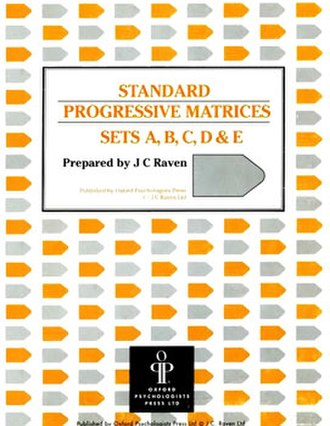 Raven's Progressive Matrices - The cover of a test booklet for Raven's Standard Progressive Matrices