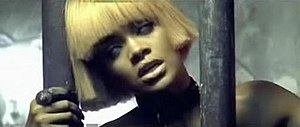 Disturbia (song) - A shot from the music video where Rihanna is seen imprisoned. She is wearing lenses that make her look as if her eyes have rolled into the back of her head.