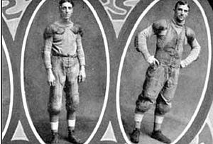 Jack Schneider - The first pass was caught by Jack Schneider (left) and thrown by Bradbury Robinson (right), photo c. 1906