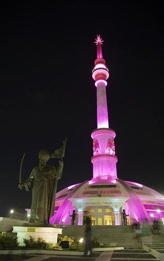 Independence Monument, Ashgabat - The monument at night.