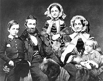 Silas Titus - Silas Titus and Family circa 1858; L to R Silas Wright Titus, Silas, Mary, Eliza and Robert