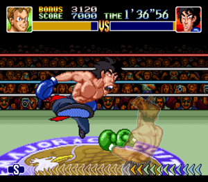 Super Punch-Out!! - The player fights Dragon Chan, who is attempting to kick the player. The player dodges to the right to avoid the kick.