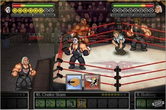 TNA Wrestling (video game) - Kevin Nash, Sting, Booker T and Abyss face each other in a match. The attacks in the game are selected via a menu system at the bottom of the screen.