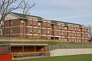 Avila University - Opened in 2007, Thompson Hall is the second-newest residence hall on campus. The south side of the residence hall overlooks the athletics field.
