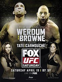 A poster or logo for UFC on Fox: Werdum vs. Browne.