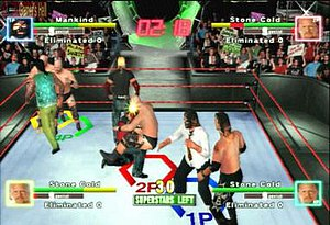 WWF Royal Rumble (2000 video game) - Royal Rumble mode allows for more than eight characters on screen at once, including multiple instances of one wrestler; in this picture there are three Steve Austins.