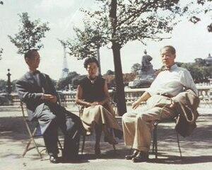 Kinuyo Tanaka - Screenwriter Yoshikata Yoda, Actress-Director Kinuyo Tanaka, and Director Kenji Mizoguchi visit Paris, 1953
