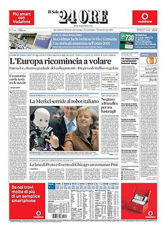 Il Sole 24 Ore - Front page, 20 April 2010