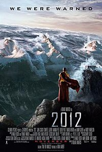 A buddhist monk standing against a background of snow capped mountains while a tsunami is charging over them.