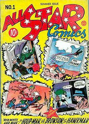 All-American Publications - Premiere issue of All Star Comics (Summer 1940), the anthology that would introduce the Justice Society of America two issues later. Note the National / DC characters the Sandman, the Spectre and Hour-Man.